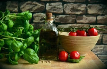Mediterranean diet basil and tomatoes