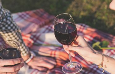 Red wine at picnic