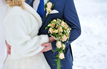 Winter wedding close up
